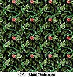 fleur exotique, feuille, illustration., résumé, pattern.,...