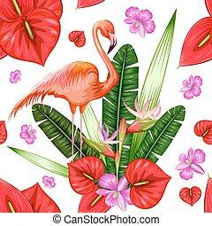 fleur exotique, modèle, seamless, exotique, flamant rose