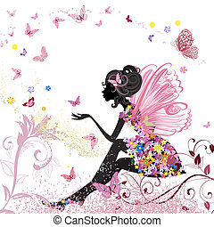 fleur, fée, dans, les, environnement, de, papillons