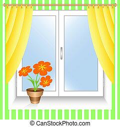 fleur, fenêtre.