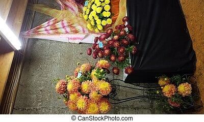 fleur, feuilles, jaune, pétales, vert, dahlia, table, rouges