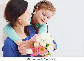 fleur, fille, bouquet, printemps, mère, portrait, heureux
