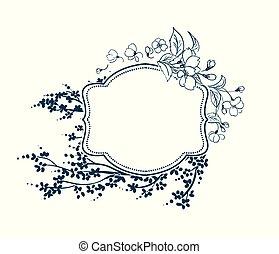 fleur, fleur, cadre, victorien, vecteur, sakura, fond
