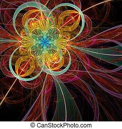 fleur, fractal, coloré, rouges