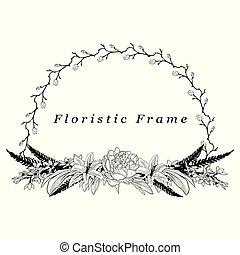 fleur, frame., élément, vecteur, conception, délicat, floristic