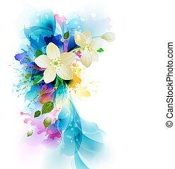 fleur, gouttes, résumé, artistique, fond, tendre, blanc