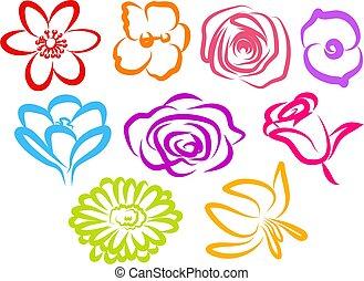 fleur, icônes