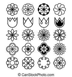 fleur, icônes, ensemble, forme abstraite, fleurs, tulipe, ligne géométrique