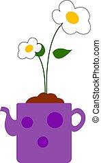 fleur, illustration, arrière-plan., vecteur, blanc, pot