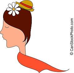 fleur, illustration, arrière-plan., vecteur, cheveux, girl, blanc