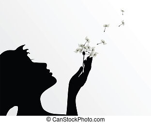 fleur, illustration, vecteur, dandelion., coups, girl