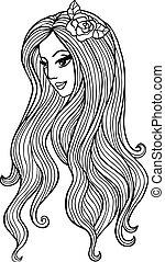 fleur, illustration, vecteur, séduisant, hair., girl