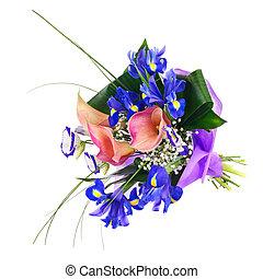 fleur, iris, bouquet, isolated., autre, calla, fleurs
