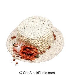 fleur, isolé, femmes, fond, chapeau blanc