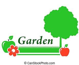 fleur, jardin, arbre, arrière-plan vert, herbe