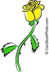 fleur, jaune, illustration, blanc, vecteur, arrière-plan.