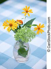 fleur, jaune, vase