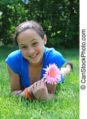 fleur, joli, tenue, girl