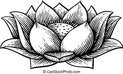 fleur, lotus, vendange, -, illustration, vecteur, (hand, dessiné, style), gravé