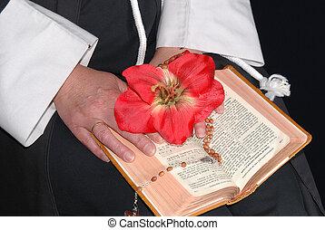 fleur, mains, bible, religieuse