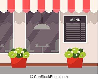 fleur, menu, vecteur, café, extérieur, pot