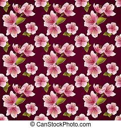 fleur, modèle, seamless, fond, cerise