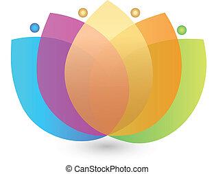 fleur, multicolore, logo, lotus