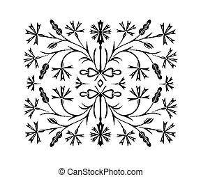 fleur, noir, main, dessiné, modèle