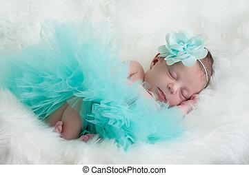 fleur, nouveau né, sarcelle, bébé, portrait, girl, tutu, headband.