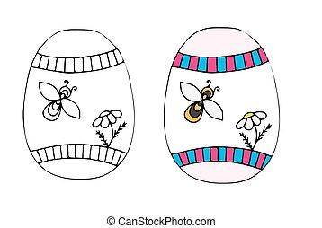 fleur, oeuf, main, dessiné, abeille, paques