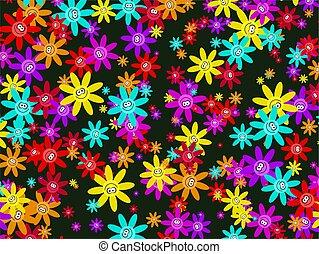 fleur, papier peint, heureux