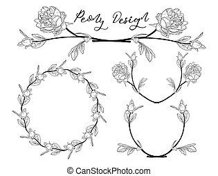 fleur, pivoine, cadre, couronne, vecteur, diviseur, design.
