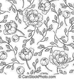 fleur, pivoine, drawing., modèle, seamless, main, vecteur, graver, dessiné