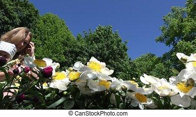fleur, pivoine, maman, temps, dorlotez fille, odeur, fleurs, premier