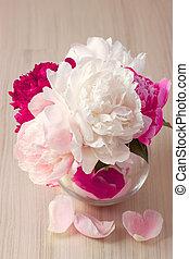 fleur, pivoine, vase