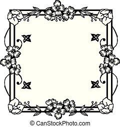 fleur, poster., carte, simple, cadre, salutation, fond, vecteur, conception, invitation, blanc