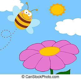 fleur, pourpre, féconder, abeille