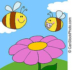 fleur pourpre, féconder, abeille