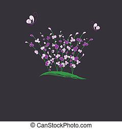 fleur, pourpre, salutation, été, carte, buttefly