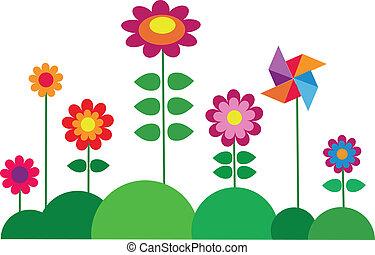 fleur, printemps, coloré