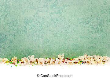 fleur, printemps, résumé, frontière, fond