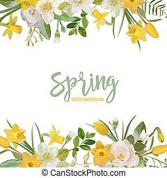 fleur, printemps, -, vecteur, fond, fleurs