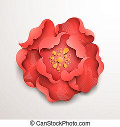 fleur, résumé, arrière-plan., papier, floral, rouges