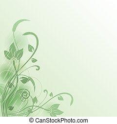 fleur, résumé, space., vecteur, arrière-plan vert, copie