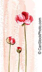 fleur, romantique, fond