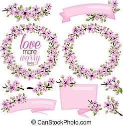 fleur rose, bannière