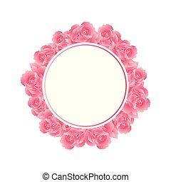 fleur rose, bannière, couronne, oeillet