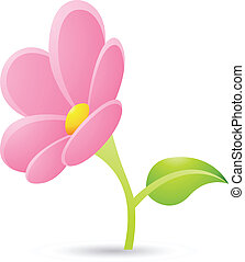 fleur rose, icône