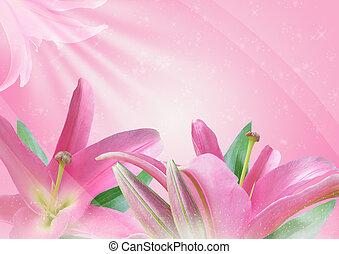 fleur rose, lis
