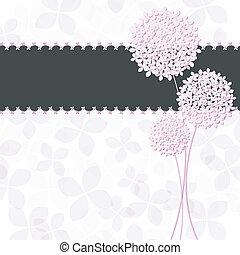 fleur rose, pourpre, hortensia, salutation, printemps, carte
